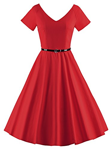 55eaba0b3e6 LUOUSE 40s 50s 60s Vintage V-Neck Swing Rockabilly Pinup Ball Gown Party  Dress – The Prom Store
