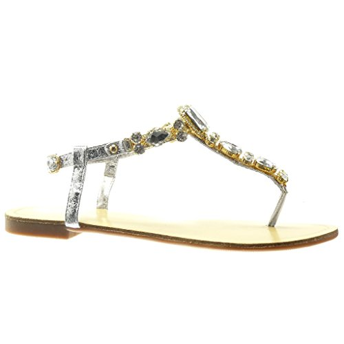 Angkorly scarpe moda sandali infradito cinturino donna gioielli strass fantasia tacco tacco piatto 1.5 cm - argento hl03 t 37