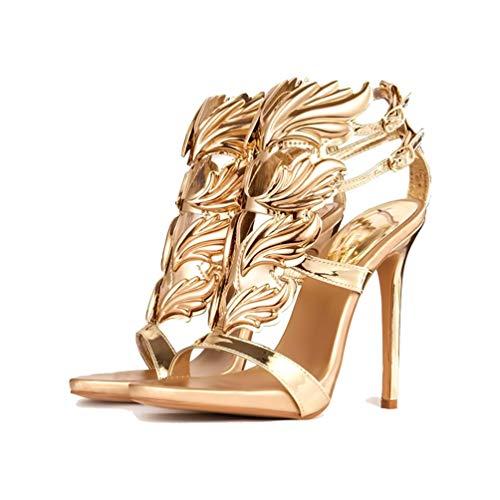 Frauen High Heels Pumps Sandalen Sommer Schnalle Metall Dekoration Blatt Flamme Peep Toe Casual Damen Party Hochzeit Schuhe