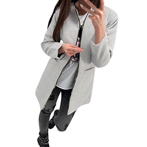 Abrigo largo de sencillo, Longra Prendas para mujer abrigo de invierno Casual Manga larga Cárdigan para mujer Chaqueta de mujeres (gris, XL)