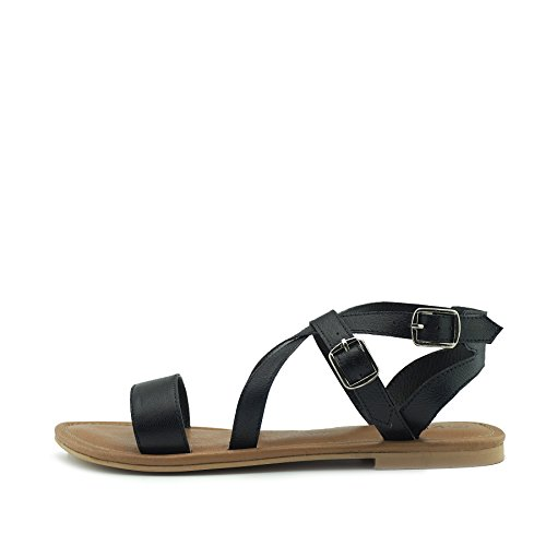 Kick Footwear Frauen-Sommer-Komfort Leder Sandalen Riemchen Urlaub Schuhe - UK 8/EU 41, Schwarz (Gurt Leder Knöchel)