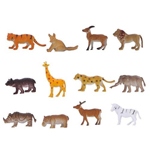 Figuras De Animales De Plástico De Simulación 12pcs Decoración Niños Juguetes Salvajes
