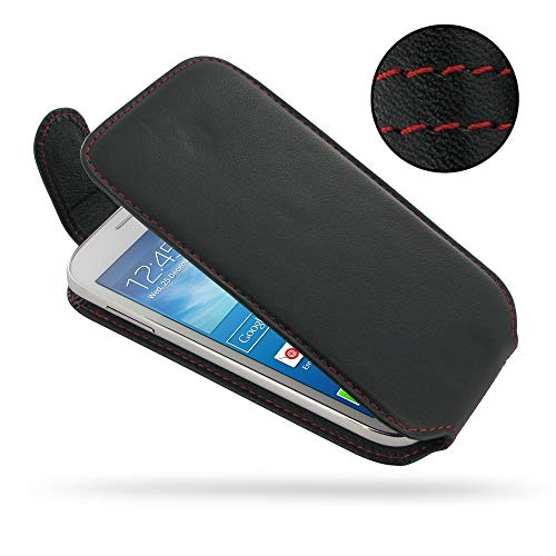 PDair Handarbeit Leder Hülle - Deluxe Leather Flip Top Case for Samsung Galaxy Grand Neo GT-i9060 (Red Stitch)