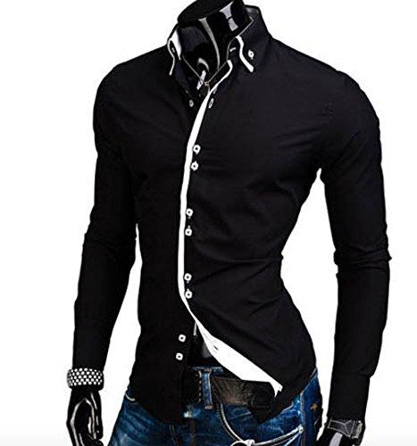 Homme Élégante Chemise de Loisir Manche Longue Carré Bouton Couleur Contrasté Noir