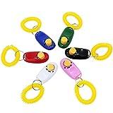 KEESIN Haustier Ausbildung Klicker mit Handschlaufe Sortierte Farbe Ausbildung Klicker Haustier Werkzeug Set für Hund Welpen Katzen 6St
