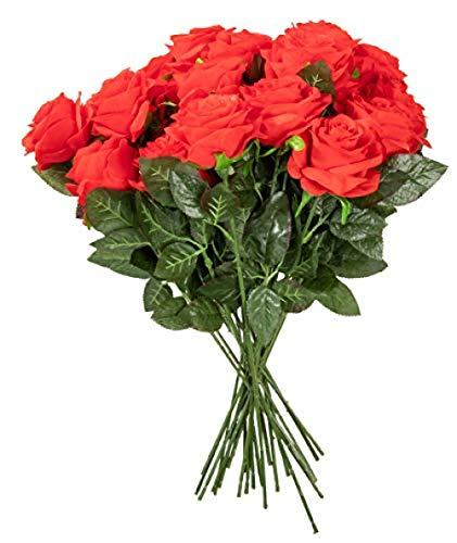 Ymwenj Künstliche Blume Rote Rose Mann Gemacht - 24 Count Silk Rose Bouquet Gefälschte Rose Hochzeit Valentinstag Home Decor Rot (24k Rose Bouquet)