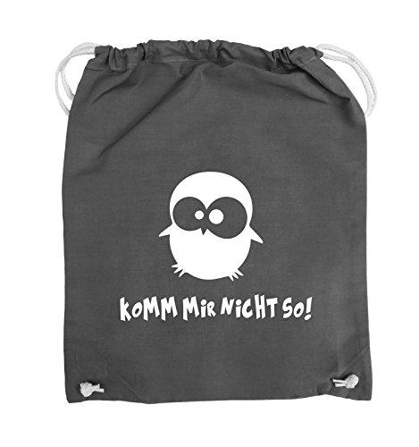 Comedy Bags - Komm mir nicht so! - EULE - Turnbeutel - 37x46cm - Farbe: Schwarz / Silber Dunkelgrau / Weiss