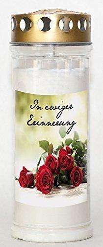 24 Kerzen x St. Jakob's Wochenbrenner mit Golddeckel 7 Tage mit Motiv und Spruch In ewiger Erinnerung Kerzenlicht,Grabgestaltung, Grableuchten, Grablaterne,Grablampe