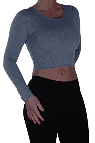 EyeCatch- Dames Désinvolte Court Manche Longue Haut Aux Femmes Mode étendue Col Rond T-Shirt Lumière Gris