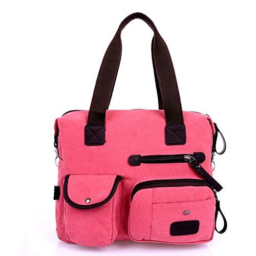 Tiny Chou Unisex, in tela, con cerniera, da donna, Vintage Leisure-Borsa Tote-Borsa a tracolla, borsa da viaggio Rosa (rosa)