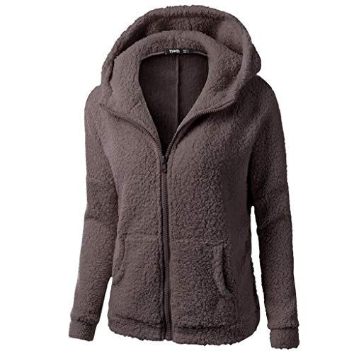 Damen Hoodie Kapuzenjacke, Rovinci Frauen Mode Teddy-Fleece Einfarbig Langarm Sweatjacke Warme...
