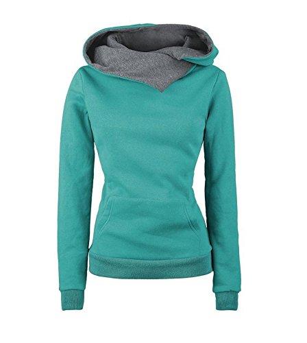 NRSP Cotone Manica Lunga Felpa Hoodie Maglione Caldo Ladies Bavero blue