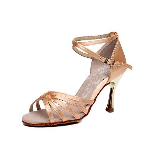 Damen Schuhe Tanzschuhe Latin Tanzen,Damen Erwachsene Elegante Schnalle 8Cm High Heel Weichen Boden Indoor-Standard-Ballsaal,39,Heller Hautton