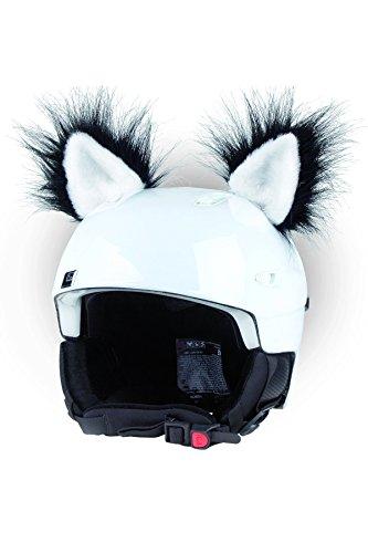Crazy Ears Helm-Accessoires Ohren Katze Tiger Lux Frosch, Ski-Ohren geeignet für Skihelm, Motorradhelm, Fahrradhelm | Helm Dekoration für Kinder und Erwachsene, CrazyEars:Schwarz Weiße Katze
