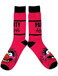 Mens The Muppet Show Party Animal Crazy Pink Socks UK 6-11 / Eur 39-45 / USA 7-12