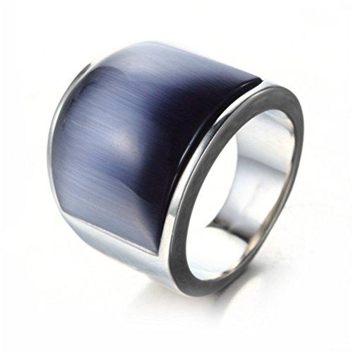OAKKY Men's Women's Mosaic Cat's Eye Stone Stainless Steel Opal Rings, Wide, Silver and Dark-blue, Size W 1/2