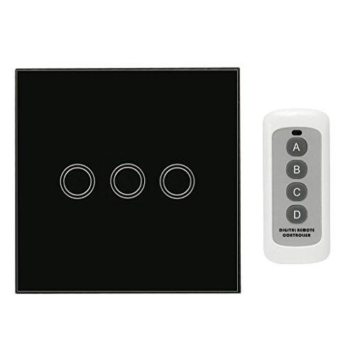 Baoblaze Touchschalter 1 2 3 Gang Wandschalter Lichtschalter Touch Schalter - Schwarz, 3 Gang