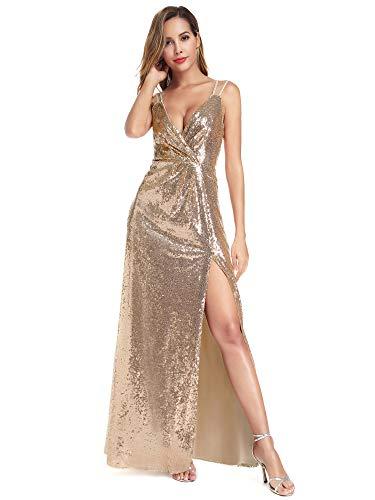 Ever-Pretty Robe de Soirée A Line à Paillettes Bal Fendue Col en V Femme Rose Or 38