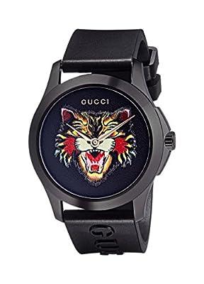 Gucci Unisex-Adult Analogue Classic Quartz Watch with Rubber Strap YA1264021