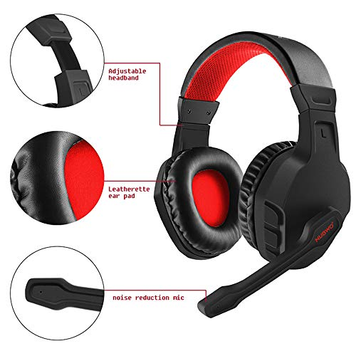 NUBWO U3 Gaming Headset Stereo PC Gaming Headset Geräuschunterdrückung mit Mikrofon Headset Kopfhörer für PC, Xbox 1, PS4, Switch rot