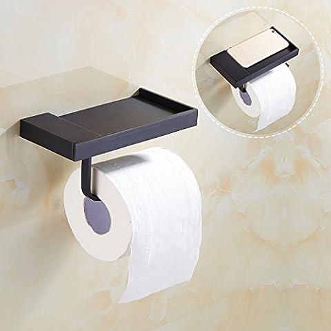 Auralum Porte-Rouleau de Papier Toilette en Bronze Noir à Montage Mural Design moderne Parfait pour Salle de Bains Toilettes WC
