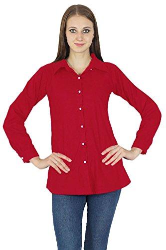 Chemise À Manches Longues En Coton Kurta Haut Vêtements Pour Rouge cramoisi