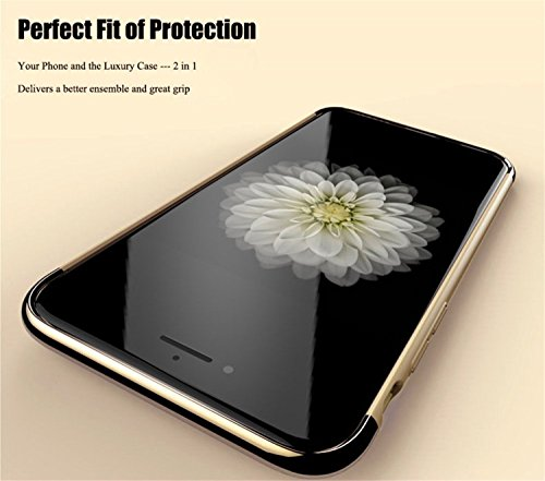 5S Case, Feikai 3 in 1 Ultra Thin and Slim Design Coated Premium Non Slip Matte Surface Electroplate Frame Shockproof Plating Metal Texture Skin Hard Case Protector Cover para iPhone 5 5S SE Red 3in1 5S Black