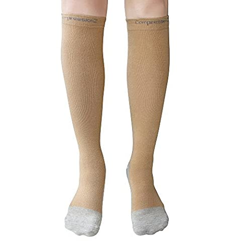 Compression Socks (1 Pair - Nude M) 20-30mmHg Graduated - Best For Running, Athletic Sports, Crossfit, Flight Travel (Men & Women) - Suits Nurses, Maternity Pregnancy, Shin Splints CompressionZ