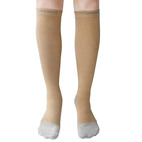 Calcetines de compresión (1 par) 20-30Mmhg - para hombres y mujeres - Color - Skin - Talla - Large