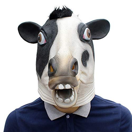 Kuh Kostüm Milch - Halloween Kostüm Party Tier Milch Kuh Kopf Maske Deluxe Neuheit Horror Stier Tier Kopf Maske Latex Ochsen Maske Haustier Kostüm Zubehör Lustige Tier Kuh Maske