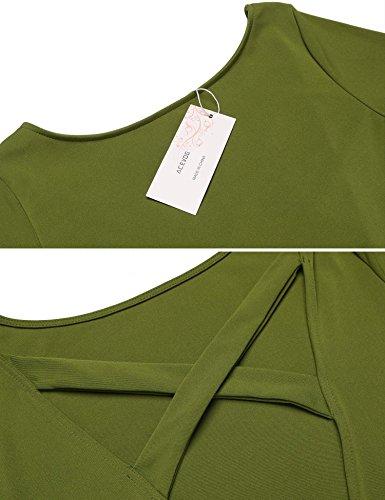 Acevog Damen Elegante Rückenfreie Bodycon Kleider Etuikleider Minikleider Abendkleider Partykleider Grün