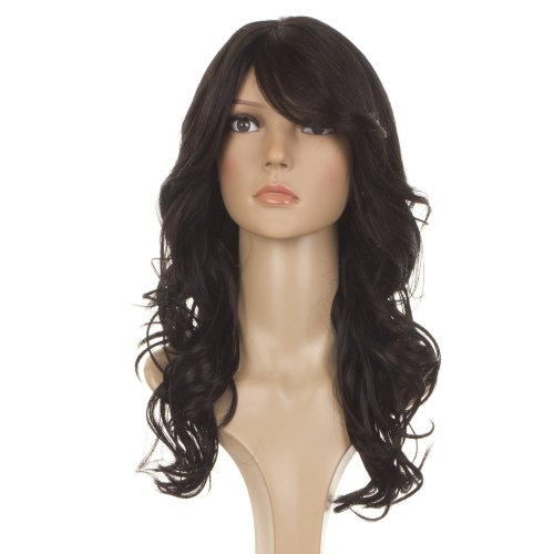 Longue Perruque Noire Crépue Melange Cheveux Naturels| Frange Coupe Diagonal |Perruque Style Nicole Scherzinger