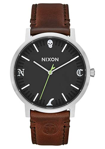 Nixon Herren Analog Quarz Smart Watch Armbanduhr mit Leder Armband A1058-2956-00
