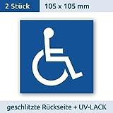 Rollstuhlfahrer Aufkleber (2 Stück) Rollstuhlfahrer Gehbehinderung 105x105 mm für Rollstuhl, Rolli, Fahrzeuge, Transporter, UV- und witterungsbeständig 10 x 10, Behinderten Aufkleber, Rolli Aufkleber, Rollstuhl Aufkleber, Aufkleber für Rollstuhlfahrer, Premium Aufkleber von Aufklebo (2 Stück 105x105 mm)