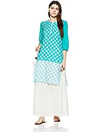 Myx Women's Straight Cotton Kurta (SS18GFT-007_Teal_S)