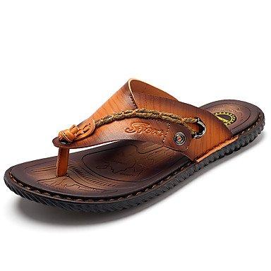 Uomini stile nuovo modo del cuoio genuino antiscivolo Flip-Flopss / Pantofole / sandali per la vita quotidiana / sandali US6-6.5 / EU38 / UK5-5.5 / CN38