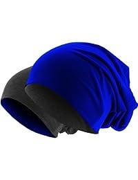 Slouch Long Beanie 2in1 Reversible Jersey Mütze in 44 Farben (royal / dunkelgrau)