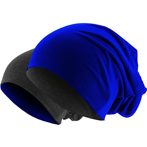 Hatstar Slouch Long Beanie 2in1 Reversible Jersey Mütze in 44 Farben (dunkelgrau/royal)