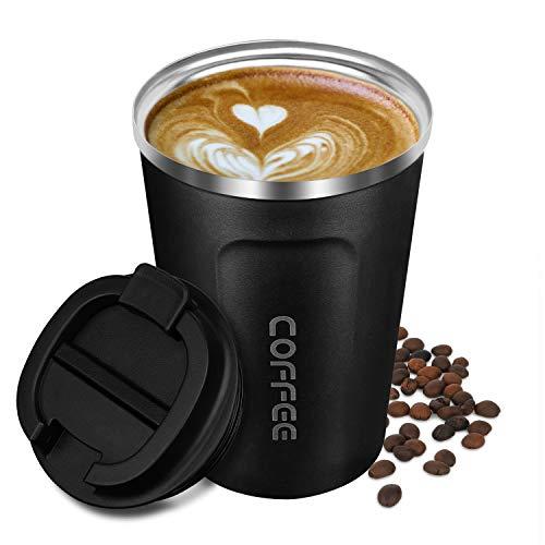 Tasse de café isolée, acier inoxydable d'isolation de vide de tasse de voyage de double paroi avec la tasse réutilisable, le thé et la bière 13oz, noir
