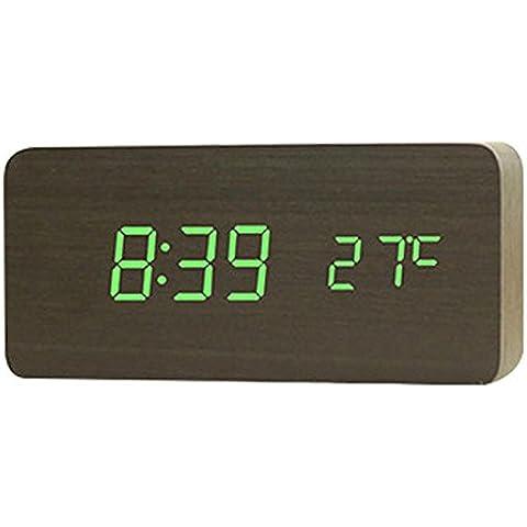 SSBY Legno di ricarica LED alarm clock, orologio digitale carina creativo, Camera orologio orologio desktop 150 * 45 * 70 mm ,
