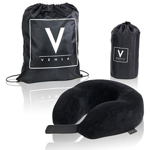 """Premium Nackenkissen von VENLA mit hochwertigem Memory-Schaum - Einstellbares Nackenhörnchen - Nackenstützkissen plus gratis """"VENLA Bag"""" - Waschmaschinengeeigneter Bezug"""
