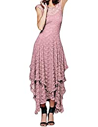 1371aff1f9017 Mounter Women Dress,Ladies Boho Irregular Lace Sexy Double Layered Ruffled  Trimming Long Dress Bohemian