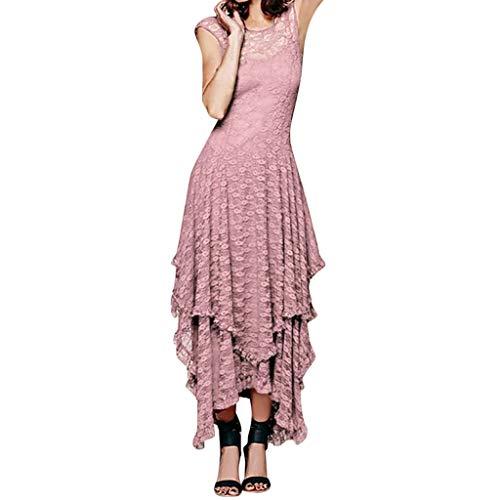 iHENGH Damen Sommer Rock Lässig Mode Kleider Bequem Frauen Röcke Boho unregelmäßige Spitze der reizvolles doppelt geschichtetes gekräuseltes trimmen langes Kleid(Rosa, ()