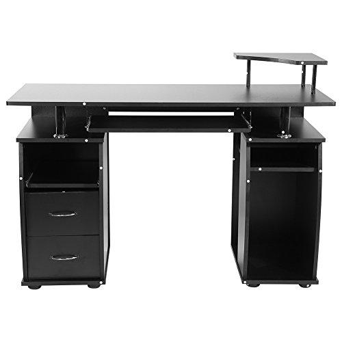 zerone Schreibtisch Bürotisch Waschtisch Desktop-für Computer schwarz, Tisch Informatik Büro für Computer PC mit Schublade Schiebe-Tastatur Regal Stauraum -