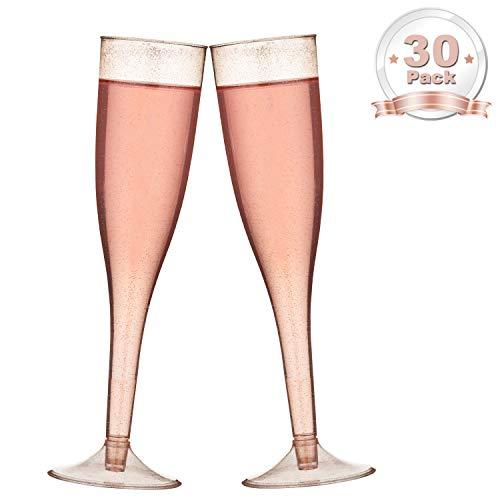 DRROT Premium Plastik Einweg Champagnergläser - 30 Stück | 5.5oz Rose Gold Glitter Cups Kunststoff Champagner Gläser für Hochzeit oder Party - Kunststoff Champagner