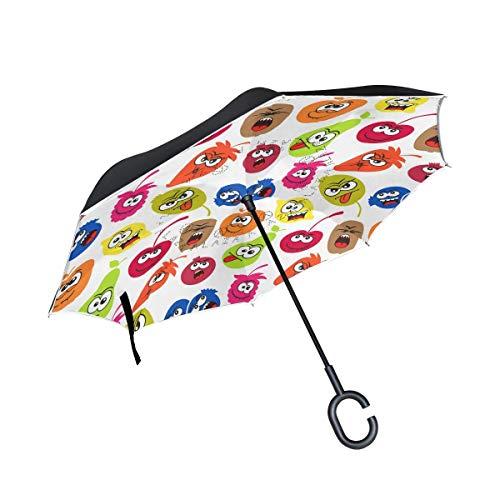HYJDZKJY Doppelschicht-umgekehrter Regenschirm-Auto-Rückseiten-Regenschirm-Früchte Emoji winddichter UVbeweis-Reise-im Freienregenschirm