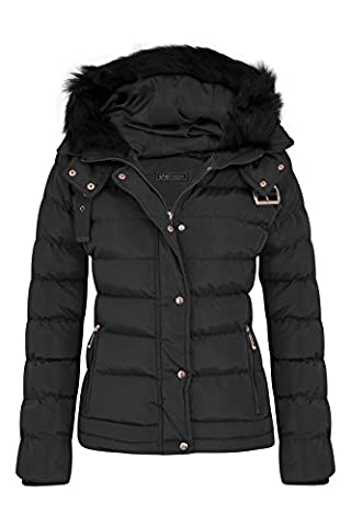 Womens Fur Hooded Belt Jacket Quilted Winter Button Long Faux Warm Padded Shower Zip Outerwear Proof Thick