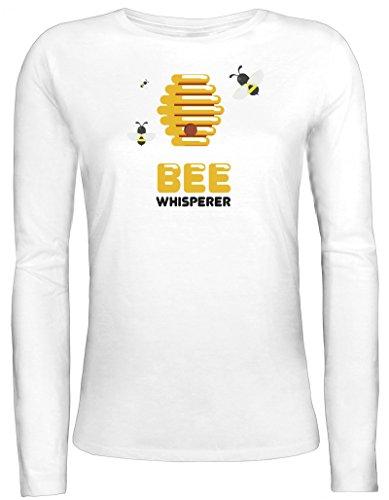 Imker Damen Longsleeve Langarm T-Shirt mit Bee Whisperer Motiv von ShirtStreet Weiß