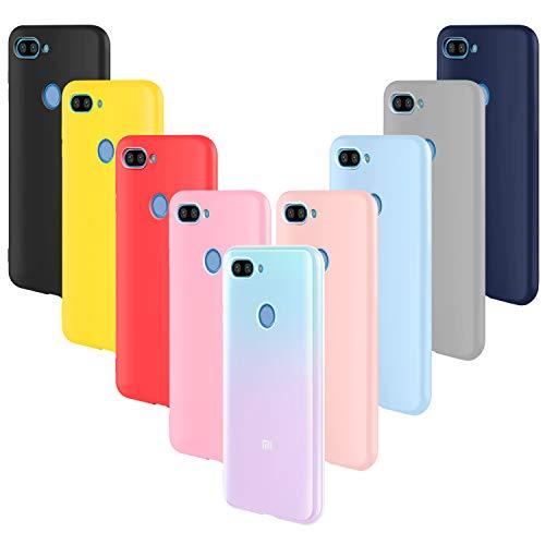 ivencase 9 × Funda Xiaomi Mi 8 Lite, Carcasa Fina TPU Flexible Cover para Xiaomi Mi 8 Lite (Rosa Gris Rosa Claro Amarillo Rojo Azul Oscuro Translúcido Negro Azul Claro)