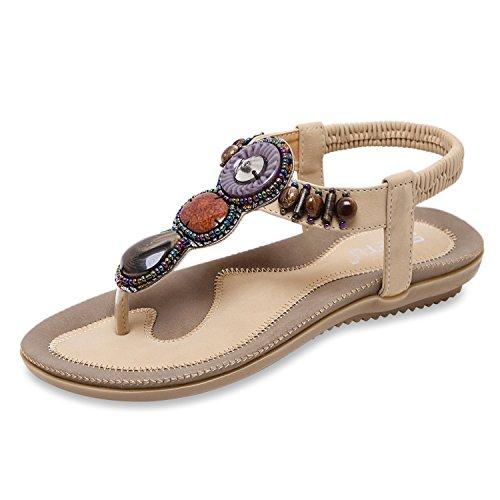 Zoerea sandali da donna da estate, piatti, modello con infradito pu cuoio bassi sandali elegante bohemia perline decorate